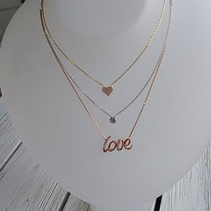 Jewelry - Vermeil-YG/Silver/RG 'LOVE/Crystal/Heart' NECKLACE